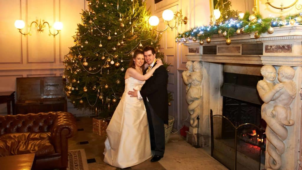 Couple by tree in Grand Salon