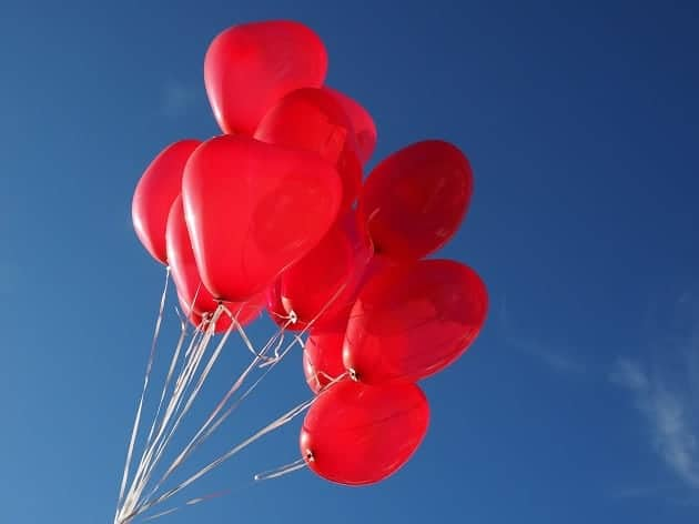 Balloons in the shape of hearts