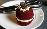 Red cupcake on a plate