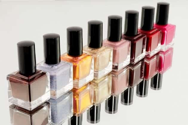 A selection of nail polish bottles